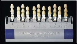 Vita 3d-master shade guide arranged in 5 groups (1m to 5m) for.